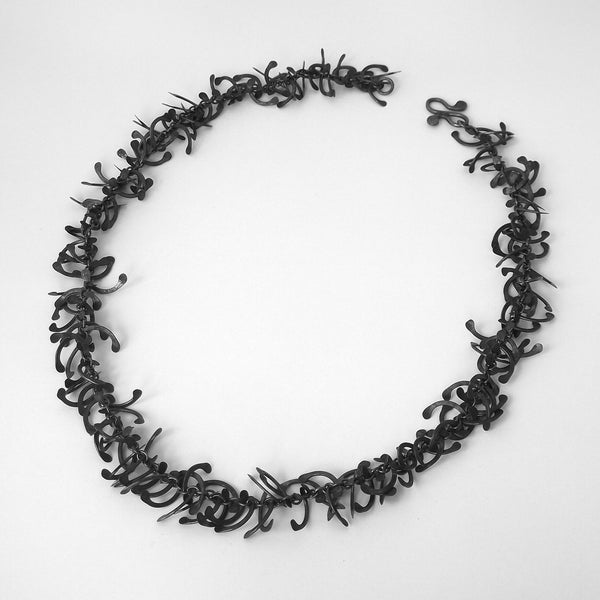 Contour Necklace, oxidised silver by Fiona DeMarco