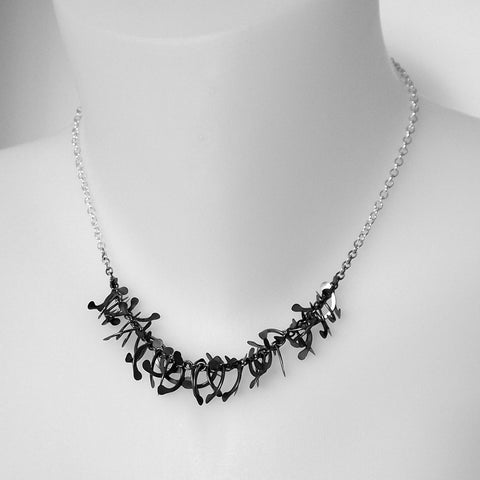 Contour semi Necklace, oxidised silver by Fiona DeMarco