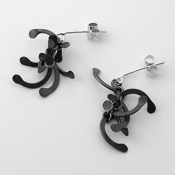 Contour stud Earrings, oxidised silver by Fiona DeMarco