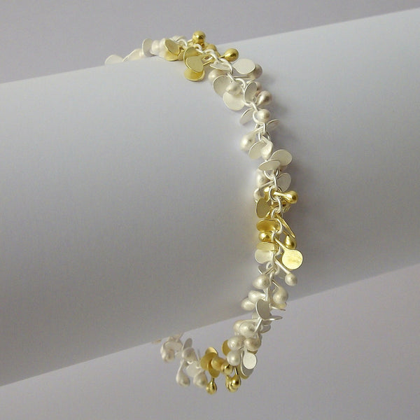 Harmony duo Bracelet, 18ct yellow gold and sterling silver satin by Fiona DeMarco