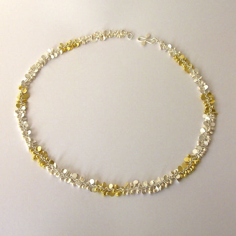 Harmony duo Necklace, 18ct yellow gold and sterling silver satin by Fiona DeMarco