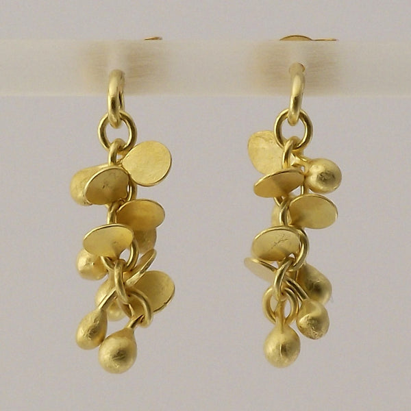 Harmony Precious stud Earrings, 18ct yellow gold satin by Fiona DeMarco