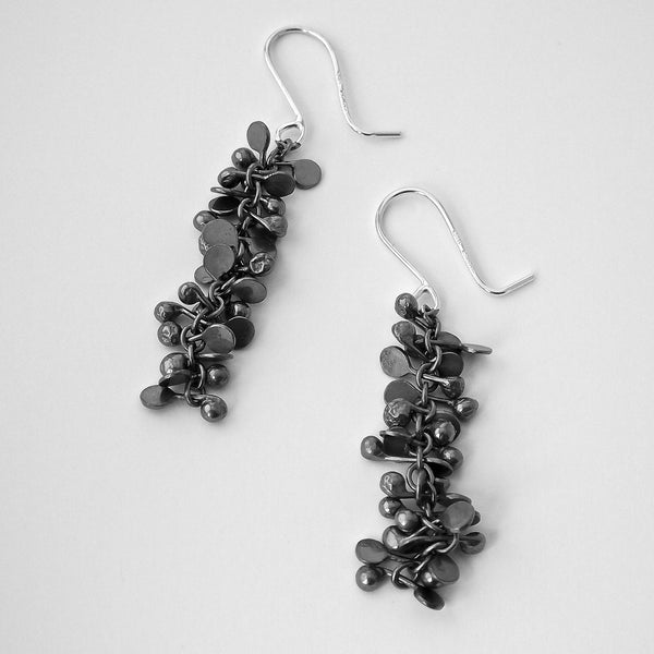 Harmony dangling Earrings, oxidised silver by Fiona DeMarco