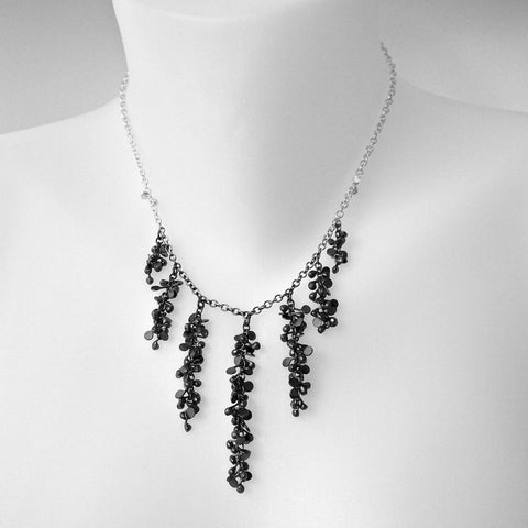 Harmony semi graduated Necklace, oxidised silver by Fiona DeMarco