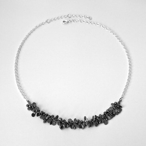Harmony semi Necklace, oxidised silver by Fiona DeMarco