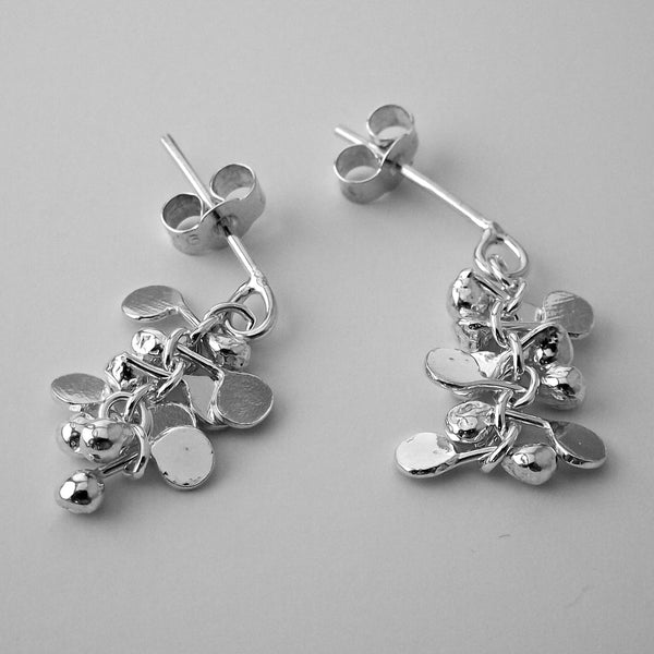 Harmony stud Earrings, polished silver by Fiona DeMarco