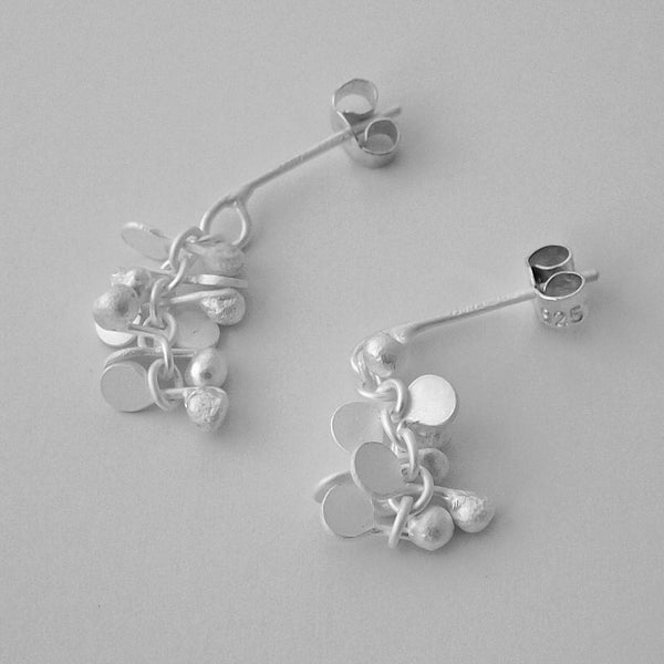 Harmony stud Earrings, satin silver by Fiona DeMarco