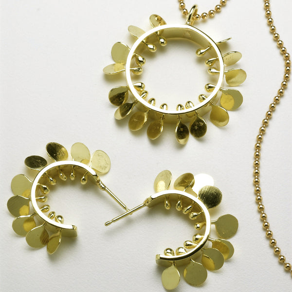 Icon Precious Pendant and hoop stud Earrings, 18ct yellow gold polished by Fiona DeMarco