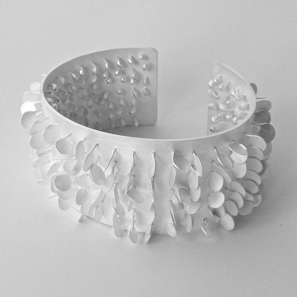 Icon Cuff, satin silver by Fiona DeMarco