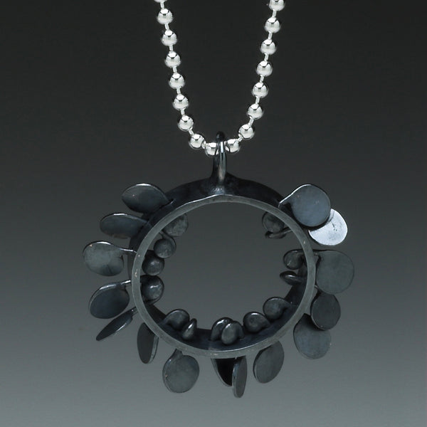 Icon Pendant, oxidised silver by Fiona DeMarco