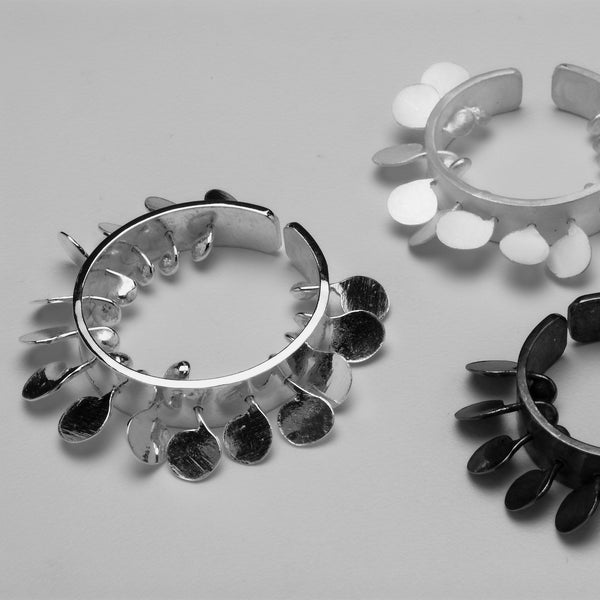 Icon Rings, polished, satin and oxidised silver by Fiona DeMarco