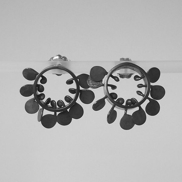 Icon round stud Earrings, oxidised silver by Fiona DeMarco