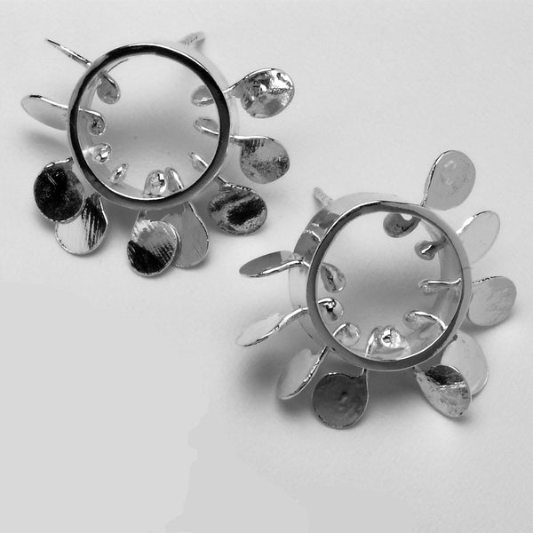 Icon round stud Earrings, polished silver by Fiona DeMarco