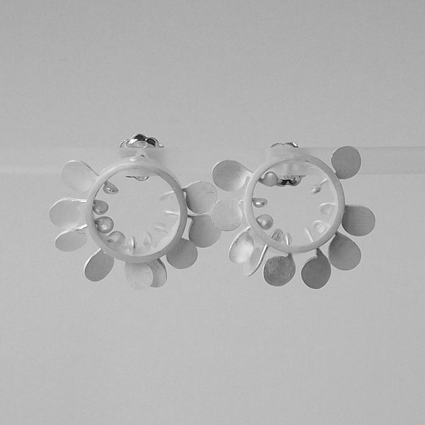 Icon round stud Earrings, satin silver by Fiona DeMarco