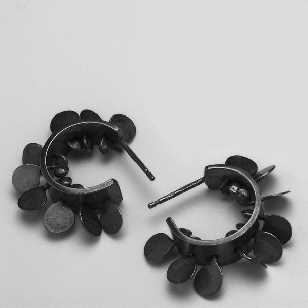 Icon hoop stud Earrings, oxidised silver by Fiona DeMarco