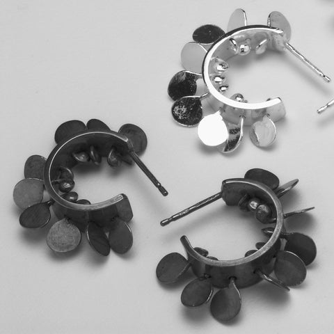 Icon hoop stud Earrings, oxidised and polished silver by Fiona DeMarco