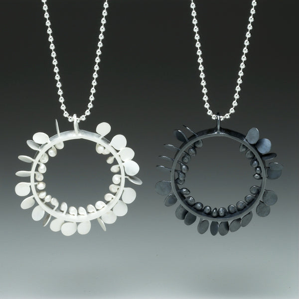 Icon wide Pendants, satin and oxidised silver by Fiona DeMarco