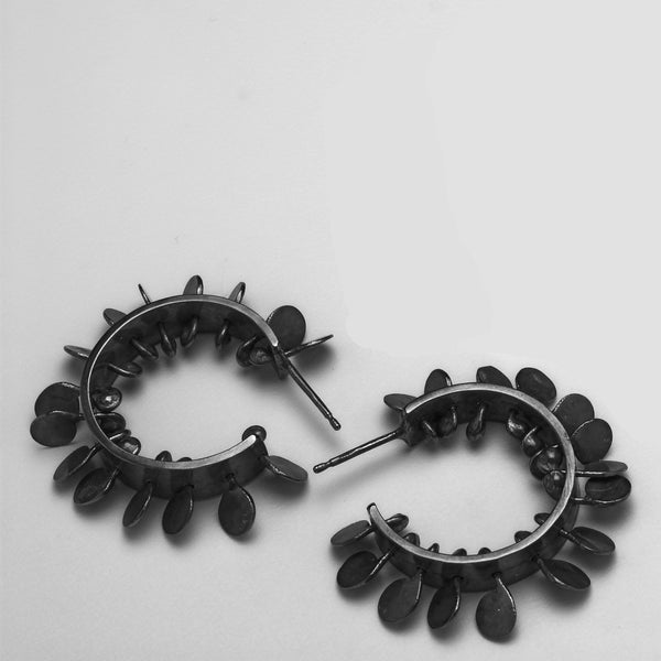 Icon wide hoop stud Earrings, oxidised silver by Fiona DeMarco