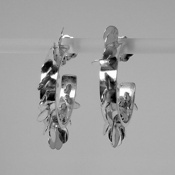 Icon wide hoop stud Earrings, polished silver by Fiona DeMarco