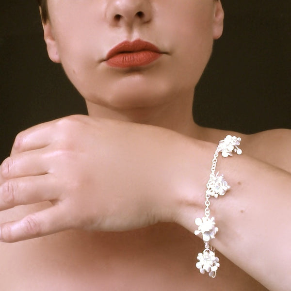 Radiance multi Bracelet, satin silver by Fiona DeMarco