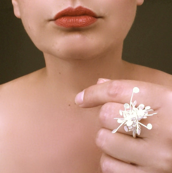 Signature Cluster Ring, satin silver by Fiona DeMarco