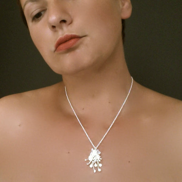 Blossom Pendant, satin silver by Fiona DeMarco