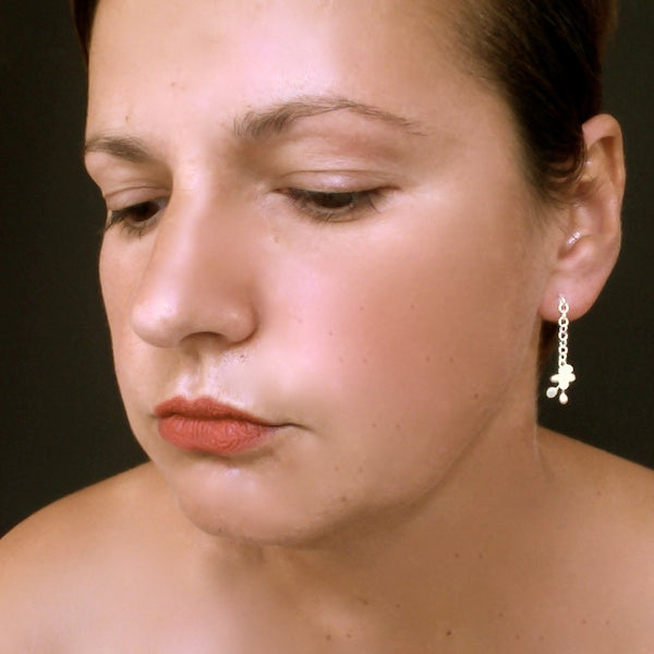 Accent stud Earrings, satin silver by Fiona DeMarco