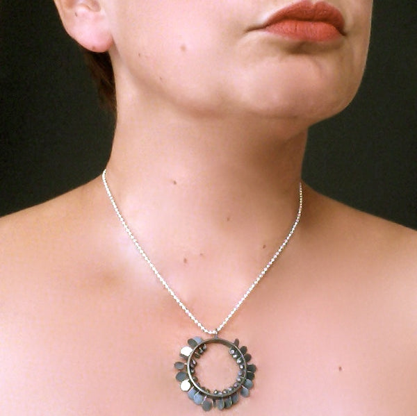 Icon wide Pendant, oxidised silver by Fiona DeMarco