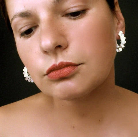 Icon wide hoop stud Earrings, satin silver by Fiona DeMarco