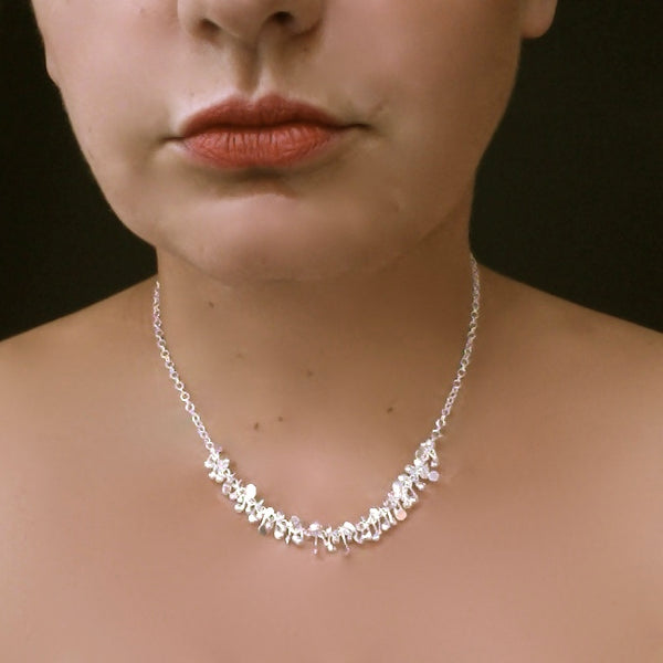 Harmony semi Necklace, polished silver by Fiona DeMarco