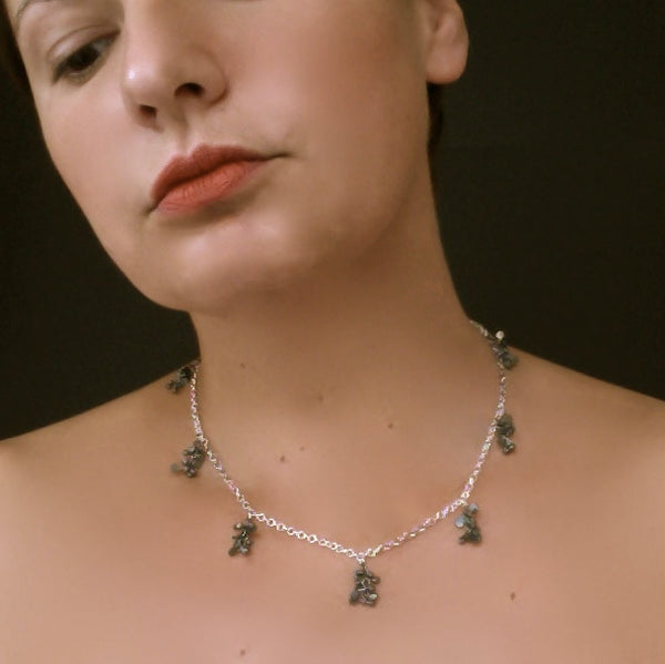 Harmony charm Necklace, oxidised silver by Fiona DeMarco