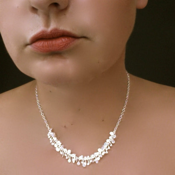 Harmony semi Necklace, satin silver by Fiona DeMarco