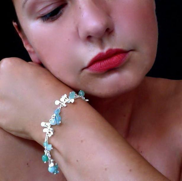 Adorn Bracelet with amazonite, apatite and aventurine, satin silver by Fiona DeMarco