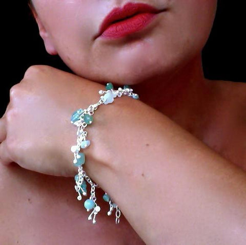 Adorn charm Bracelet with amazonite, apatite and aventurine, satin silver by Fiona DeMarco