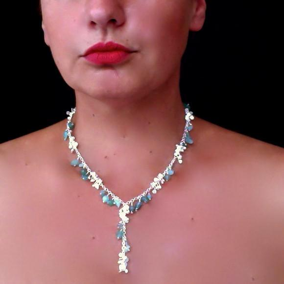 Adorn lariat Necklace with amazonite, apatite and aventurine, satin silver by Fiona DeMarco