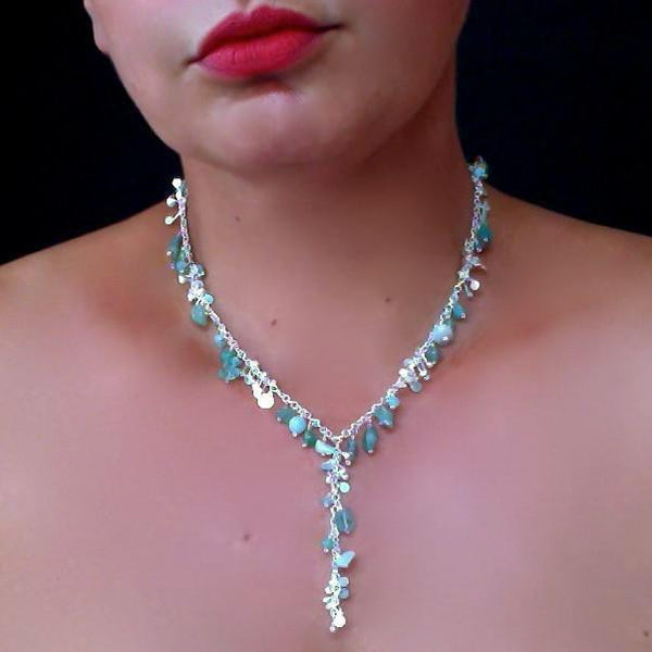 Adorn lariat Necklace with amazonite, apatite and aventurine, polished silver by Fiona DeMarco