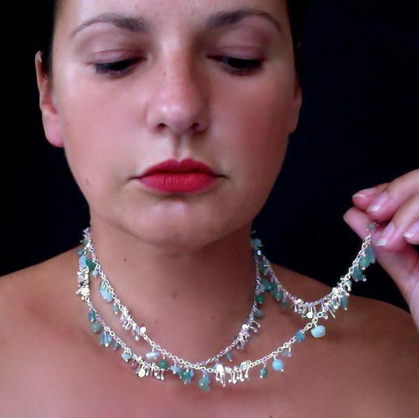 Adorn long Necklace with amazonite, apatite and aventurine, polished silver by Fiona DeMarco