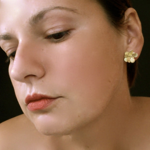 Symphony Precious stud Earrings, 18ct yellow gold satin by Fiona DeMarco