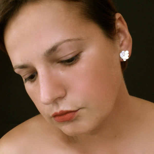 Symphony stud Earrings, satin silver by Fiona DeMarco