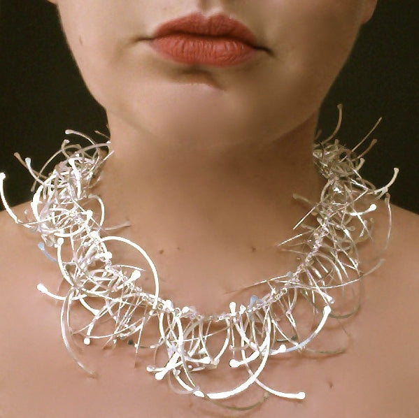 Contour multi Necklace, polished silver by Fiona DeMarco