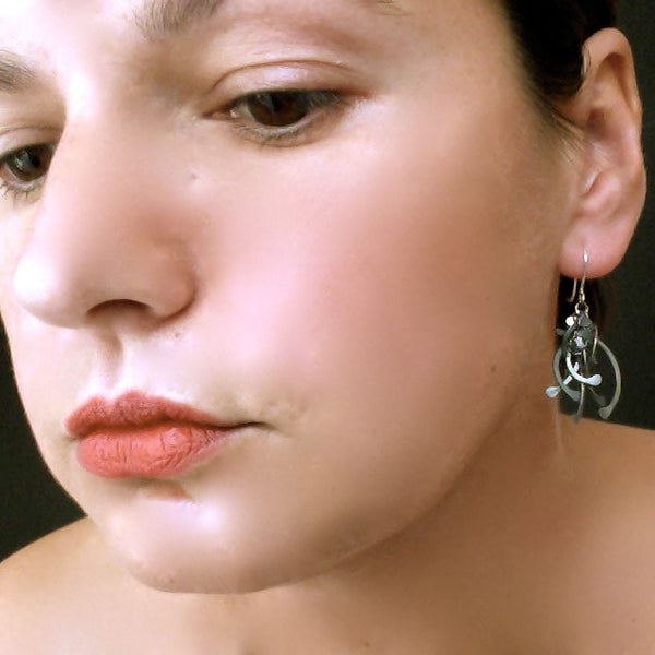 Contour Cluster dangling Earrings, oxidised silver by Fiona DeMarco