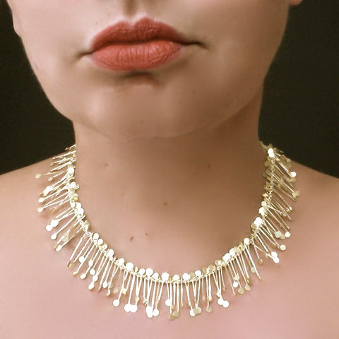 Signature Precious Necklace, 18ct yellow gold satin by Fiona DeMarco