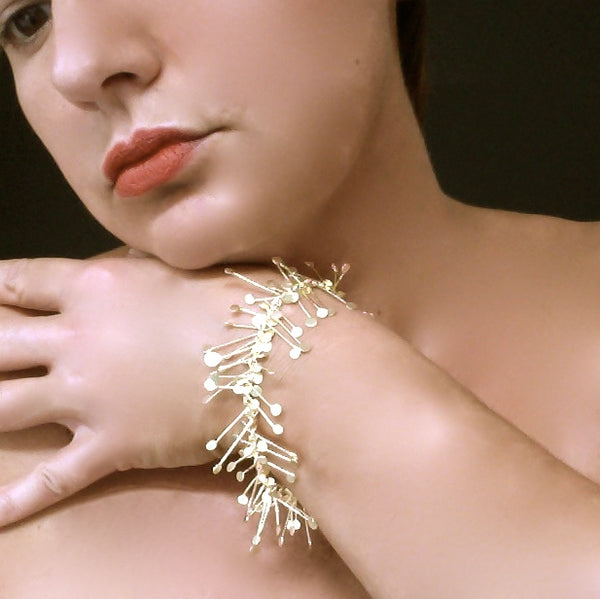 Signature Precious Bracelet, 18ct yellow gold satin by Fiona DeMarco