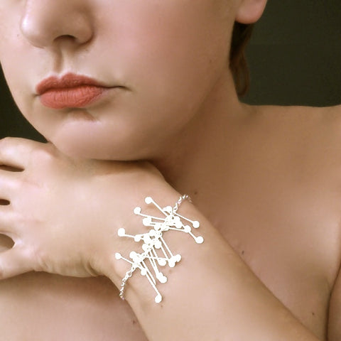 Signature semi Bracelet, satin silver by Fiona DeMarco