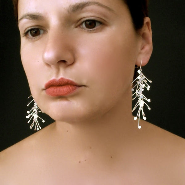 Signature dangling Earrings, satin silver by Fiona DeMarco