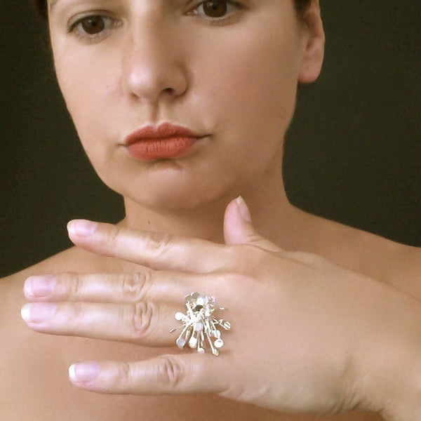 Signature Cluster Ring, polished silver by Fiona DeMarco