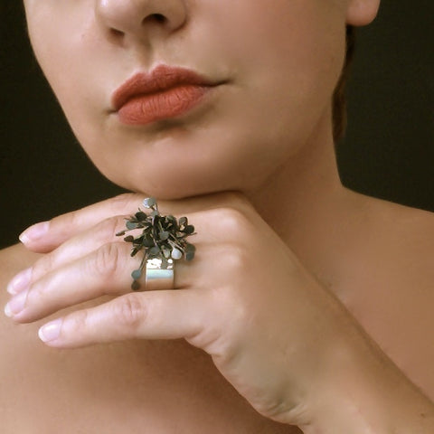 Signature Cluster wide Ring, oxidised silver by Fiona DeMarco