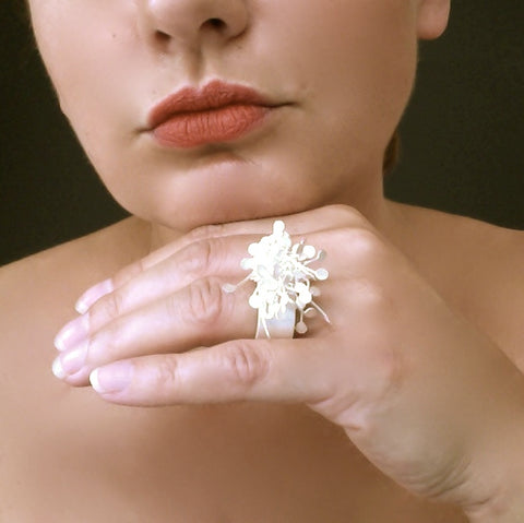 Signature cluster wide Ring, satin silver by Fiona DeMarco
