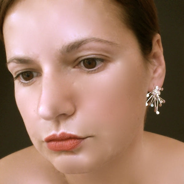 Signature Cluster stud Earrings, polished silver by Fiona DeMarco