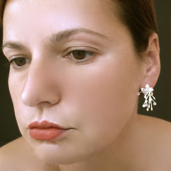 Signature Cluster stud Earrings, satin silver by Fiona DeMarco
